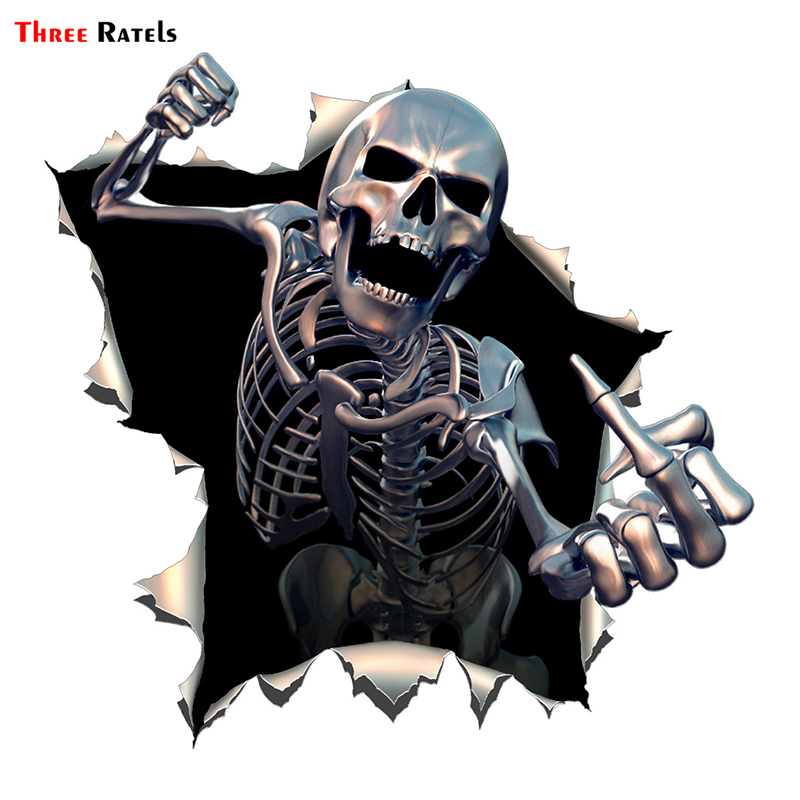 Three Ratels ALWW202-13 #15x15cm Metal Angry Skeleton Skull Skeleton With Beard Premium Funny Auto Sticker Decals Car Sticker