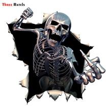 Three Ratels ALWW202 13 #15x15cm metalowa wściekła szkielet czaszka z brodą Premium zabawna naklejka na samochód naklejki samochodowe