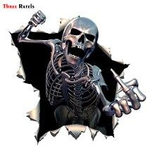 Tre Ratels ALWW202 13 #15x15 centimetri in metallo arrabbiato di scheletro del cranio con la Barba Premium divertente sticker auto decalcomanie auto