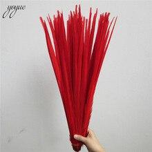 YOYUE 100 Pcs אדום טבעי פסיון זנב נוצות 16 18 אינץ 40 45cm תכשיטי Diy באיכות גבוהה קישוטי חתונה פסיון נוצה