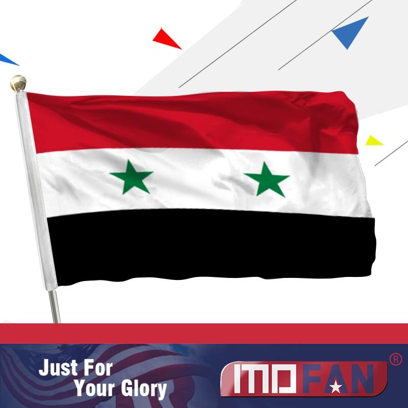 MOFAN Syria Flag Poliester de înaltă calitate și dublu cusut-Siria - Decoratiune interioara