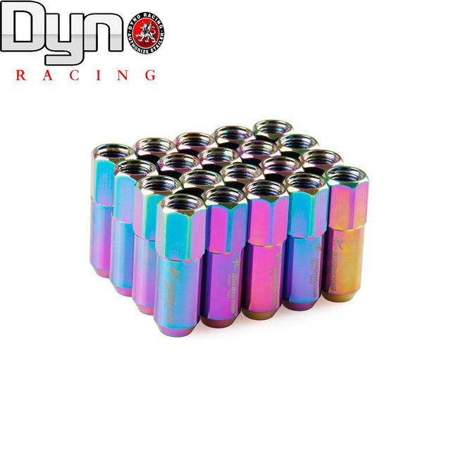 DYNO RACING - NEW Hot RYANSTAR Racing Auto wheel lug nuts with Stickers Neo Chrome Length 60MM P12x1.5