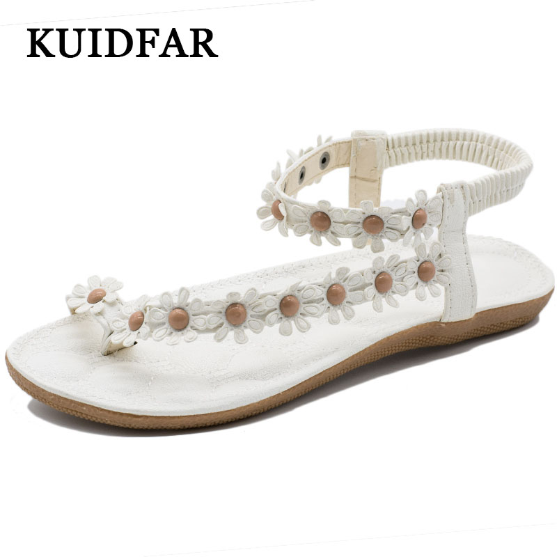 Women Sandals Summer Sandals Gladiator Flip Flops Flat Woman shoes women casual Beach shoes White Flower gladiator sandal rhinestone silver women sandals low heel summer shoes casual platform shiny gladiator sandal fashion casual sapato femimino hot