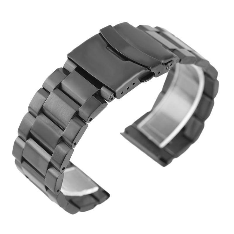 Luxury 18/20/22/24mm Black Watchband Solid Stainless Steel Men Watches Replacement Bracelet Folding Clasp with Safety Strap zlimsn silver bracelet solid stainless steel watchband 18 20 22 24mm luxury military metal band replacement relogio feminino s15