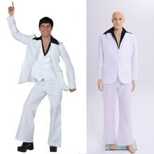 898ce0025644d Erkek yetişkin 70 s 80 s Disco hippi beyaz kıyafet kostüm Retro ateş dansçı  Stagewear fantezi elbise