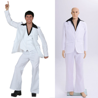 Mens Adult 70s 80s Disco Hippie White Outfit Costume Retro Fever Dancer Stagewear Fancy Dress