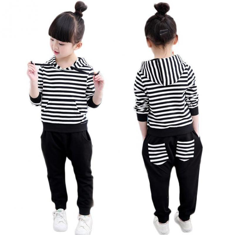 2017 Kids Clothes Sets Autumn Boys Girls Clothing Sets Long Sleeve Black Striped Tops Hooded Sweatshirts + Pants 2 Pcs Outfits