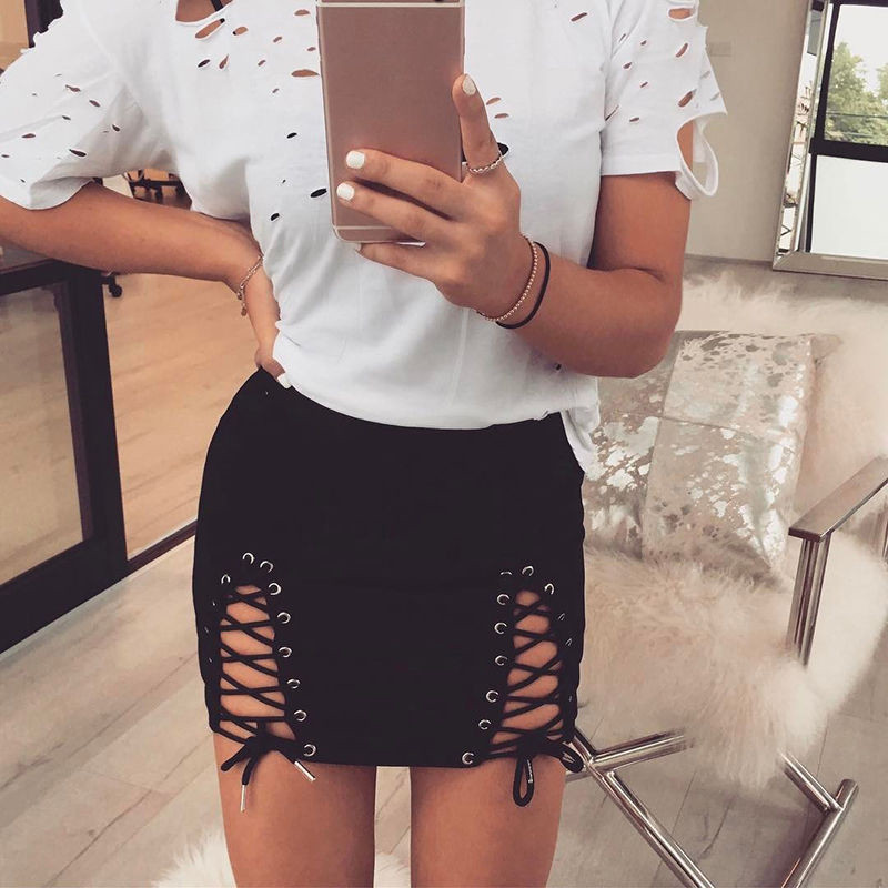 High Waist Beach Cross <font><b>Bandage</b></font> Hollow Out Mini <font><b>Skirts</b></font> 2018 Summer Women <font><b>Pencil</b></font> <font><b>Skirt</b></font> Club <font><b>Sexy</b></font> Slim <font><b>Bodycon</b></font> Vestido Wholesale image