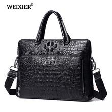 WEIXIER 2019 New Genuine Leather Business People Travel Casual Crocodile Decorative Handbag High Quality Simple