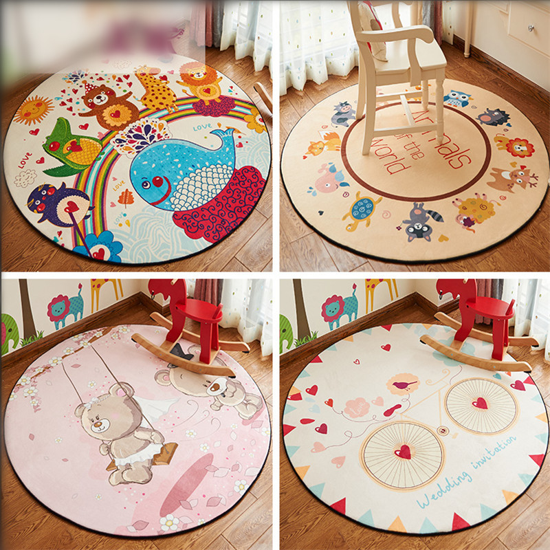 Developing Mat 120cm Snow Velvet Cartoon Children's Rug Nordic Style Baby Carpet for Children's Room Decoration Puzzle Comida