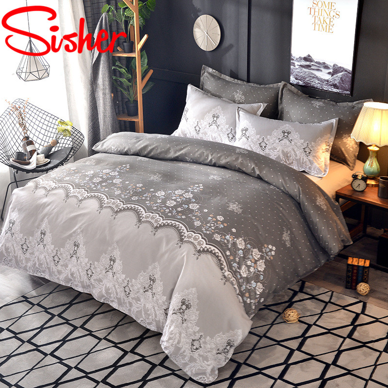 Sisher Home Textile Flower Printed Duvets And Bedding Sets Duvet Luxury Quilt Cover Set 2/3PCS  Capa De Edredom Duvet Cover     - title=
