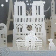Tarjetas de amor papel raspado vista de la ciudad famosa vista nocturna 3D Pop up hecho a mano París postales Vintage saludo