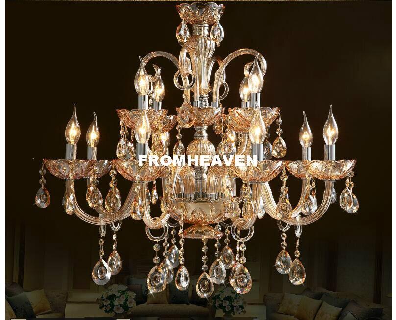 Современная хрустальная люстра, Роскошная Современная хрустальная лампа, люстра, освещение, янтарный Золотой Кристалл K9, люстра, хрустальн...