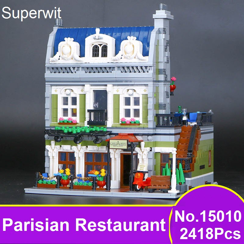 Superwit New Lepin 15010 Expert City Street Parisian Restaurant Model Building Kits Blocks Brick Children Toys Compatible 10243 superwit 72pcs big size city diy creative building blocks brick compatible with duplo sets lepin educational toys children gifts