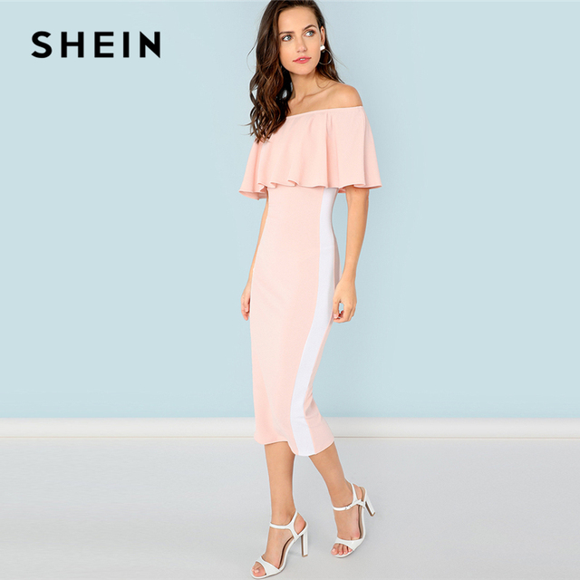 ebbf973fa8 SHEIN Pink Elegant Party Flounce Foldover Front Off Shoulder Contrast Tape  Natural Waist Dress Summer Women Going Out Dresses