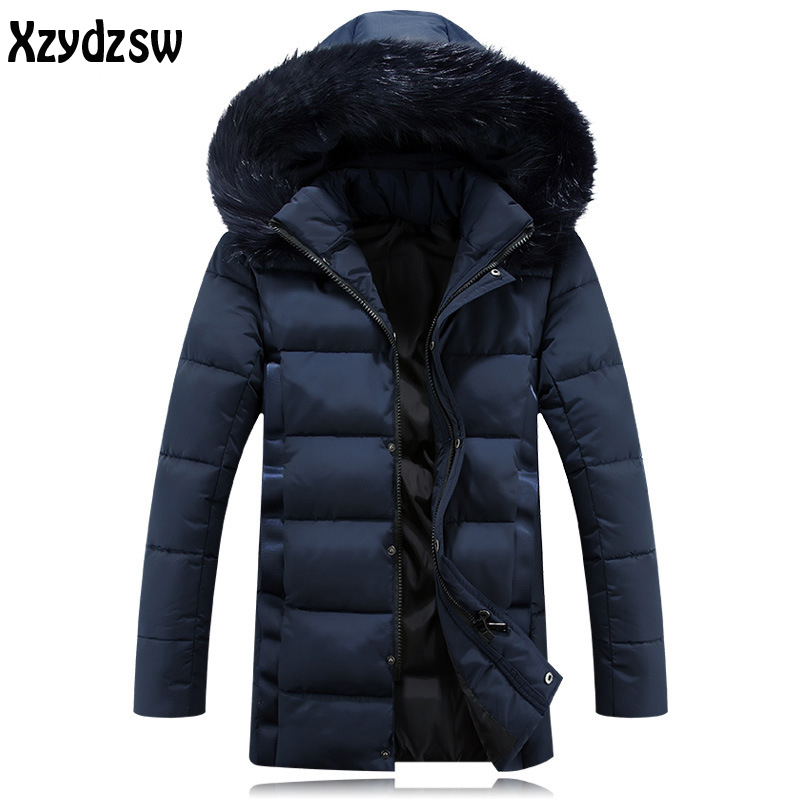 Winter Jacket Men Coats Warm Casual Wear Winter Long Cotton Jackets Mens Natural Fur Collar Down Plus Size Jacket For Men 5XL mens winter down jackets coats piumino peuterey wool collar double breasted jacket lapel pocket vertical multi pocket jacket