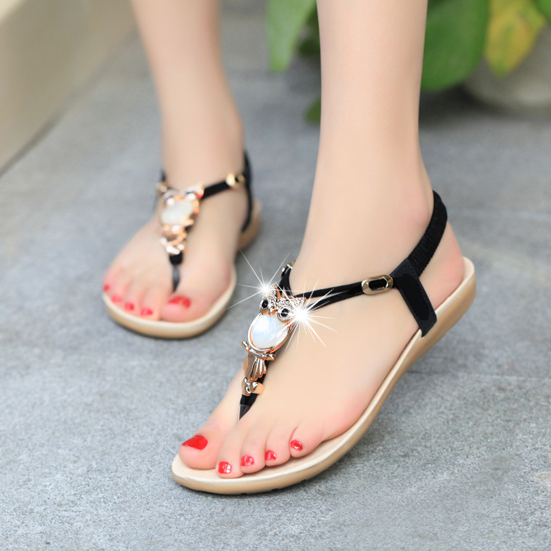 New Women Sandals Summer Fashion Flip Flops Female Sandals Flat Shoes Bohemia Causal Ladies Footwear Solid Women Shoes YBT143 timetang flat sandals t strap fashion trend sandals bohemia national flat heel beaded female shoes sale women shoes