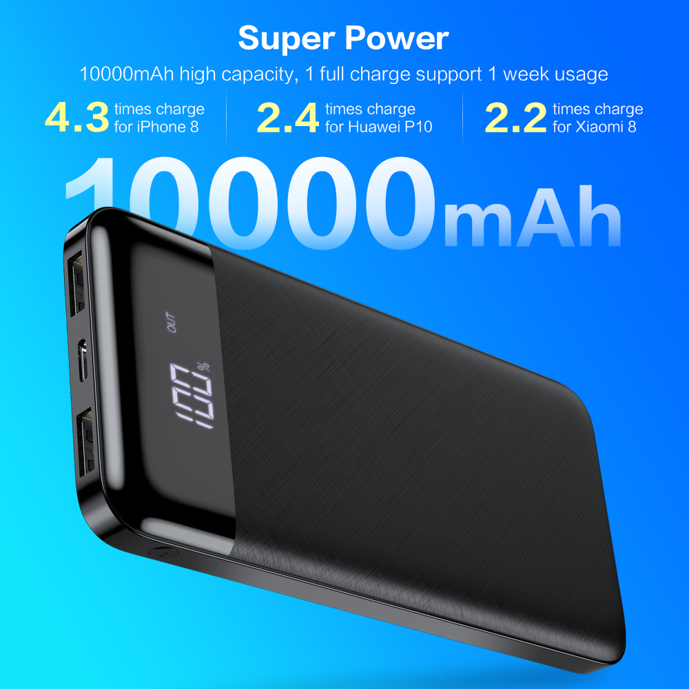 Image 3 - FLOVEME Power Bank 10000mah Dual usb charger For iphone Xiaomi mi External Battery Backup Pack quick Charge Power bank 10000 Mah-in Mobile Phone Chargers from Cellphones & Telecommunications