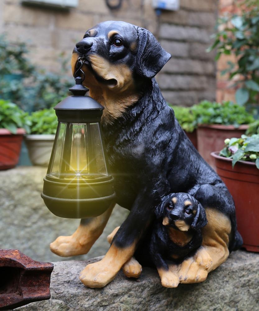 Estátua Animal jardim Quintal Cão Golden Retriever Rottweiler Cão escultura Mobiliário Home Decor Amarelo Com UMA Lâmpada de Lanterna Solar - 5