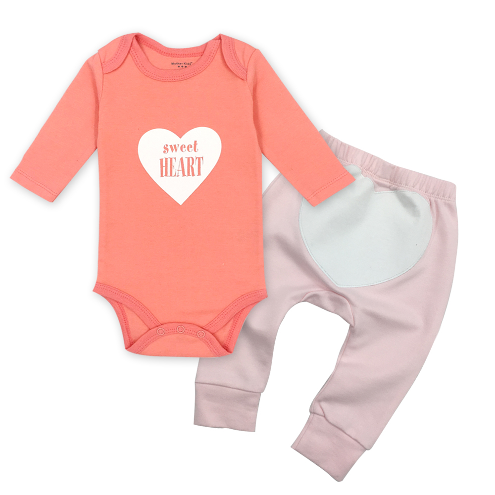 2 pçs/lote Menina Bebê Roupas de bebê Recém-nascido Da Criança Infantil Outono/Primavera de Algodão Macacão de Bebê + Calças Do Bebê Conjuntos de Roupas de Bebê