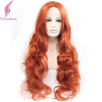 Yiyaobess Loose Wave Synthetic Lace Front Wigs For Women Heat Resistant Glueless Natural Long Orange Wig Hairstyle