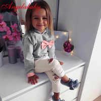 Bebê meninas conjuntos de roupas 2 pçs manga longa com capuz gravata laço topos + calças crianças roupas de inverno conjunto roupas crianças roupas menina