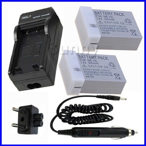 Battery (2 Pack) + Charger for Canon NB 10L CB 2LC Power Shot G1 X G15 G16 SX40 HS SX40HS SX50 HS SX50HS SX60 HS Digital Camera
