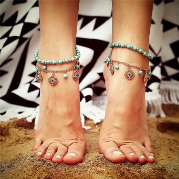 2Pcs/set Souvenir Ankle Bracelet Foot Jewelry Unique Green Howlite Bead Flower Pendant Gold Color Anklet ain image