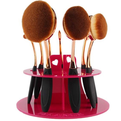 Oval Makeup Brush Holder 10 Holes Drying Rack Organizer Cosmetic Shelf Tool In Stock Fast Shipping easy install brush drying rack tree for different standard holes random color