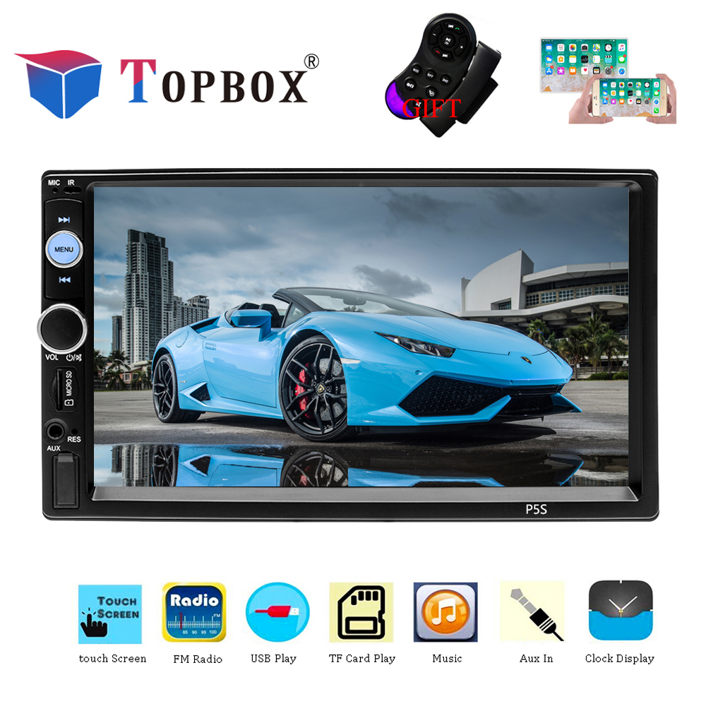 "Topbox 2 Din Car Multimedia Player 2Din Car Radio 7"" HD Touch Screen Autoradio FM AUX Audio Stereo ISO/Android Mirror Link P5S"