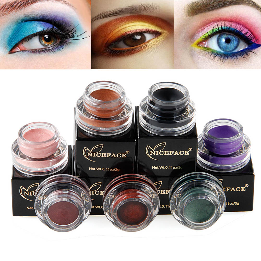 Beauty & Health Eye Shadow Niceface Single Color Shimmer Eyeshadow Cream Waterproof Long Lasting White Eye Liner Gel Black Blue Highlighter Cream Ae050