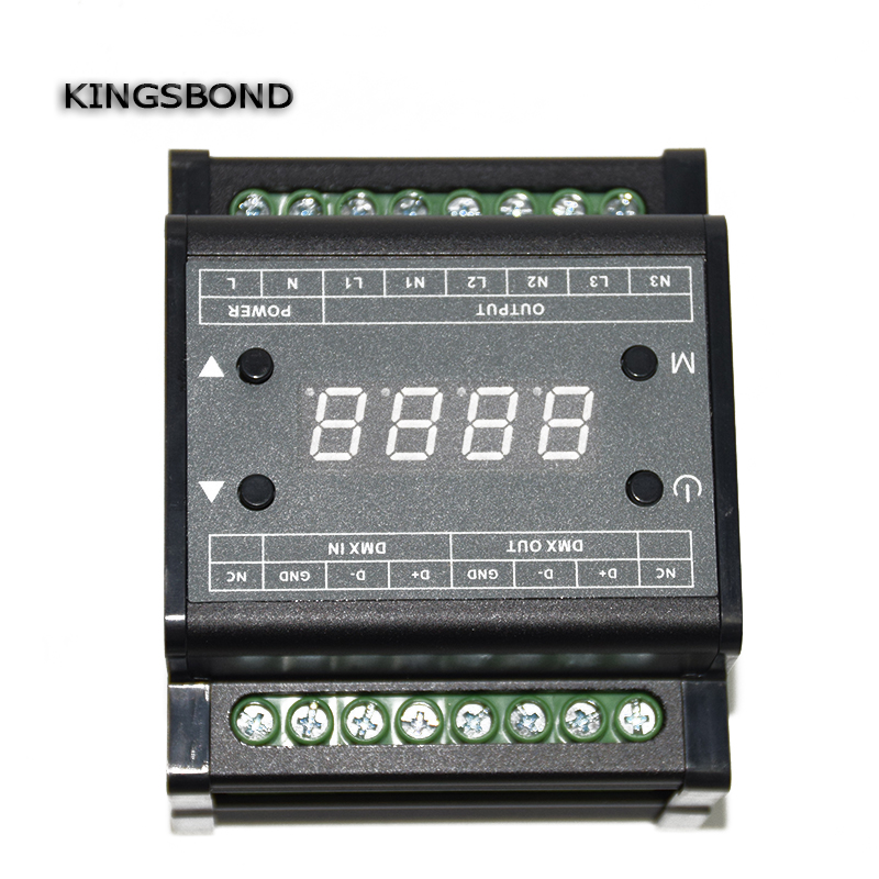 DMX303 3channels high-voltage dimmer,AC90-240V Power supply 3 channels 0-10V output signal,DMX dimmer controller for LED strip 24ch channels 3a ch dmx512 easy dmx led decoder controller dimmer drive dc5v 24v 8 groups rgb output for leds strip modules