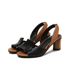 Big Size 34-43 Slingback Sandals Women Brand Mixed Colors Back Strap Summer Shoes Woman Thick Heels Footwear m368