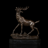 Arts Crafts Copper Sika deer sculpture with Lost Wax method animal head real pure Brass statues Figurines for Christmas Deco
