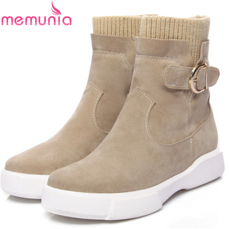 MEMUNIA 2018 Autumn winter boots female fashion shoes woman round toe buckle solid ankle boots for women big size 34-43
