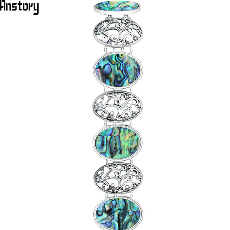 Hollow Flower Oval Shell Bracelet For Women Vintage Antique Silver Plated Fashion Jewelry TB277