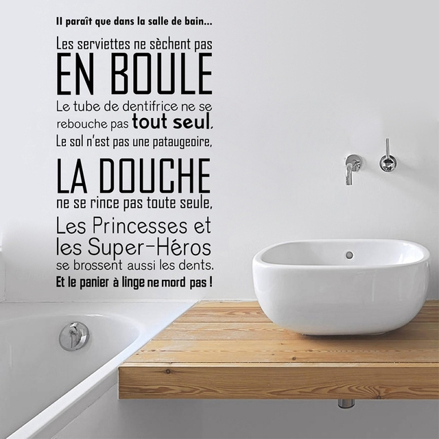salle de bain vinyl wall sticker french quotes bathroom wall decals art modern bathroom decor in. Black Bedroom Furniture Sets. Home Design Ideas