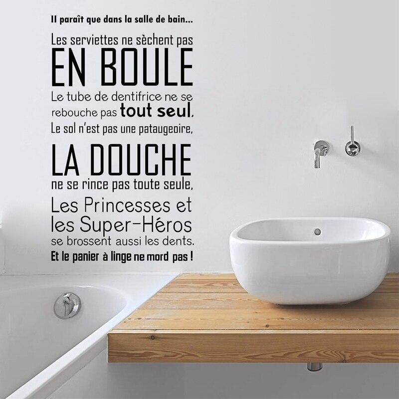 Salle de bain de Mur de Vinyle Autocollant Français Citations Salle De Bains Stickers Muraux Art Moderne Salle De Bains Décor