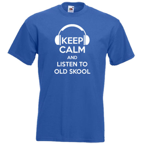 Keep Calm and Listen To Old Skool 80S 90S Music Disco Dj 2019 Men'S Fashion Short Sleeved Camisetas Slim Fit Cotton 3D T-Shirt image