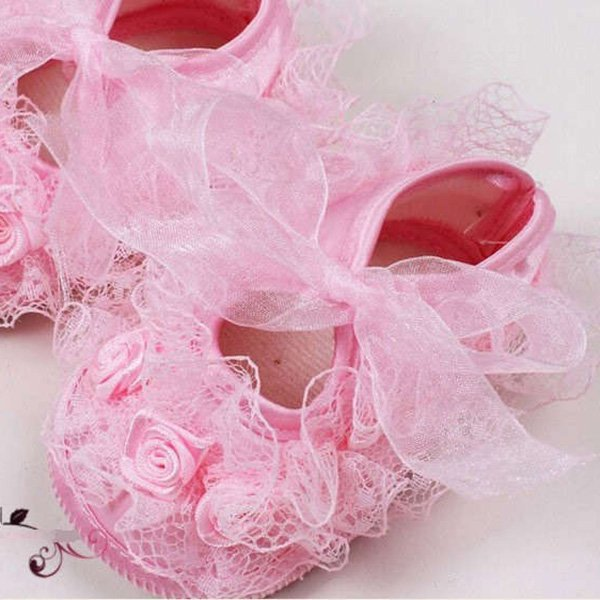 Baby Girl Shoes First Walkers Baby Girls Toddler Lace Flower Princess Shoes Soft Sole Non-slip Crib Shoes