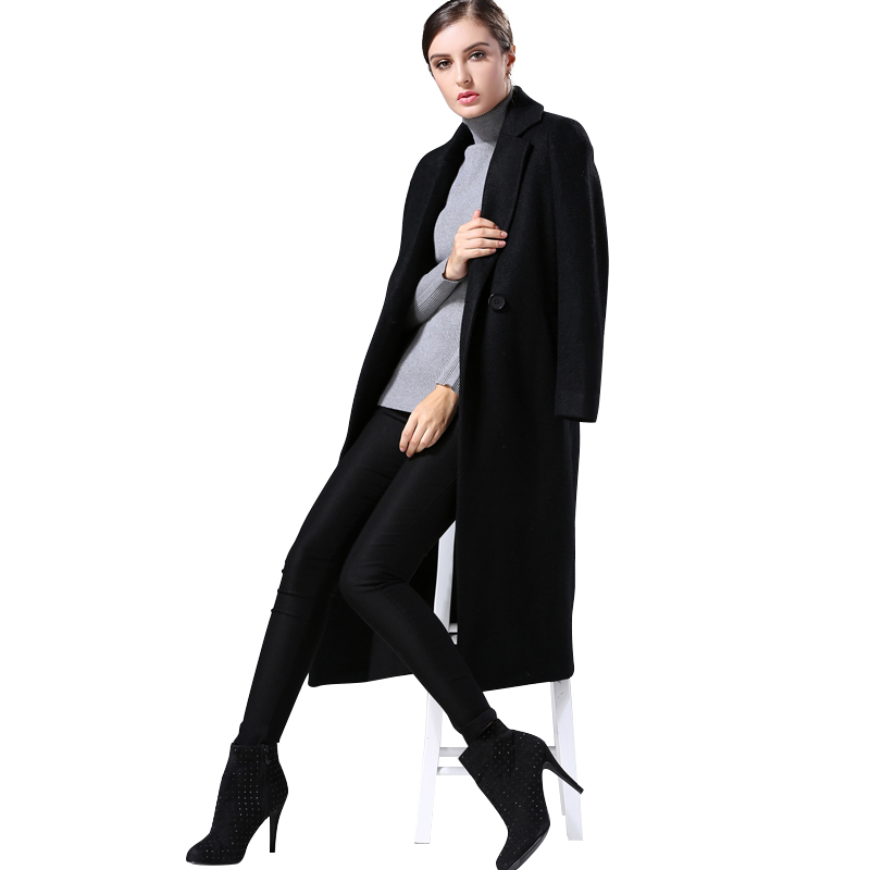 Popular Long Black Wool Coat Women-Buy Cheap Long Black Wool Coat