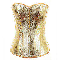 Gold & Silver Women Corset Sexy Leather Overbust Bridal Corset Boned Women Plush Size S-XXL Steampunk Gothic Bustier Shapewear
