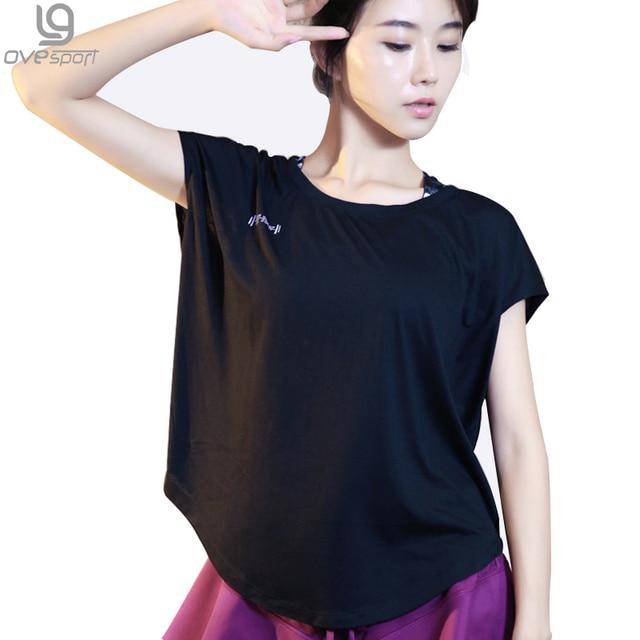 Camisas de Treino de Fitness feminina de Manga Curta Camisa de T T-shirt Das Senhoras Soltos Respirável calças de Secagem rápida das Mulheres