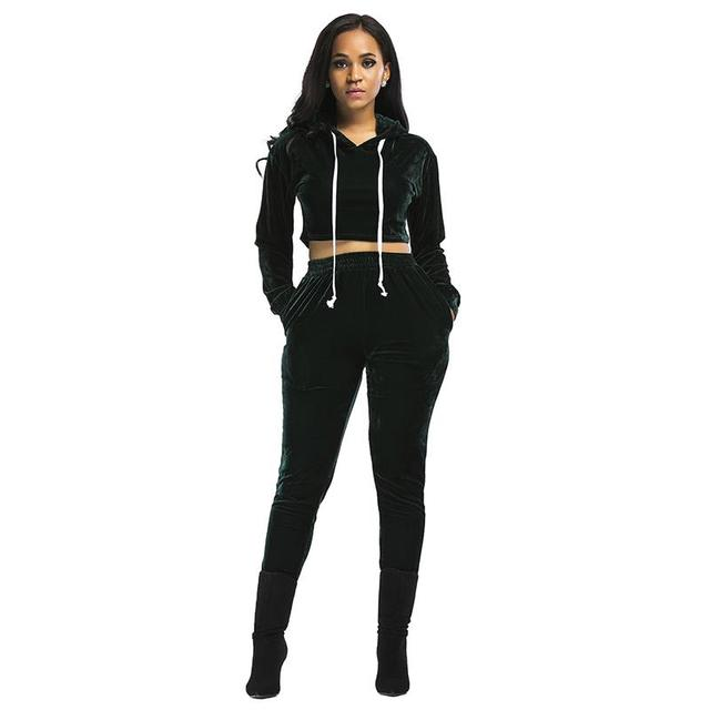 Women Sets Winter Velvet Causal Tracksuit Long Sleeve Short Tops & Long Pants 2pcs Set Women Suits WS2875X