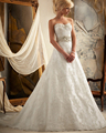 Amdml Delicate Alencon Lace Trimmed Intricately Beaded Embroidery Wedding Dress 2017 Classic Strapless A-line Bridal Gown