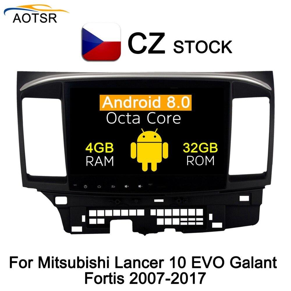 IPS Tela Android 8.0 multimídia Carro DVD player unidade de cabeça para MITSUBISHI LANCER 2007-2017 navegação gps Rádio vídeo stereo BT
