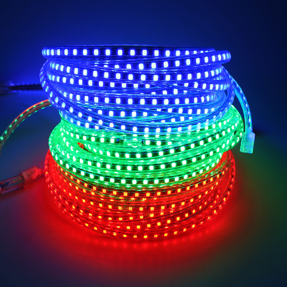 1 Meter 220V led strip light SMD2835 120led/M IP67 Waterproof White/Warm white/Blue Outdoor led tape light with EU power plug