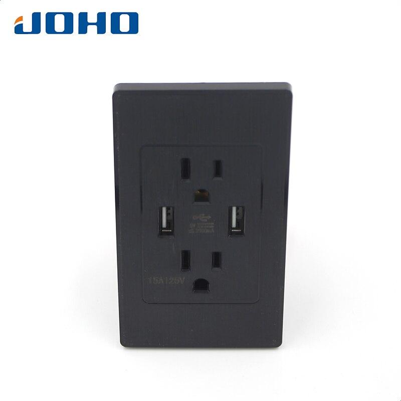 все цены на JOHO Electrical Sockets Dual USB Power Wall Charger Socket Electrical Power Outlet Panel Plate Black US Plug Type USA2100L-BK онлайн