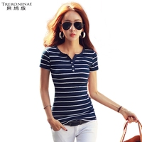 Undershirt Women Summer Knitted Cotton Tee Shirts Button V Neck Tops Girl Casual Plus Size Short