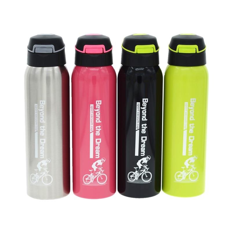 500ML Rostfritt stål Vattenflaska för vakuumisoleringsflöde Bärbar cykel Sport Stråflaskflaska för kall och varm dryck